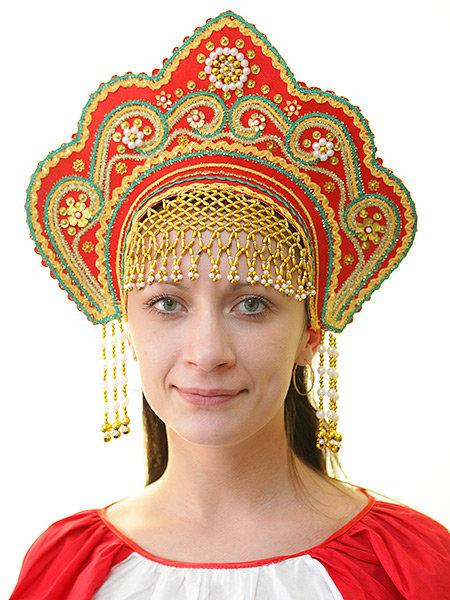 вышла плетение головного кокошника русского народного костюма мед
